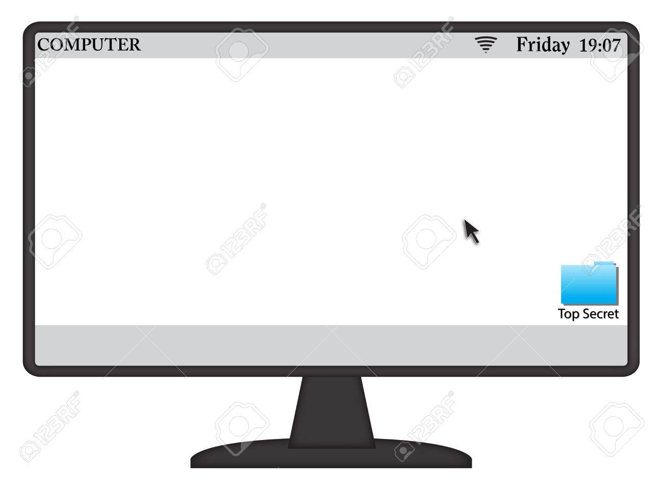 A computer screen with symbols and white space isolated on a a computer screen with symbols and white space isolated on a white background stock vector biocorpaavc Choice Image