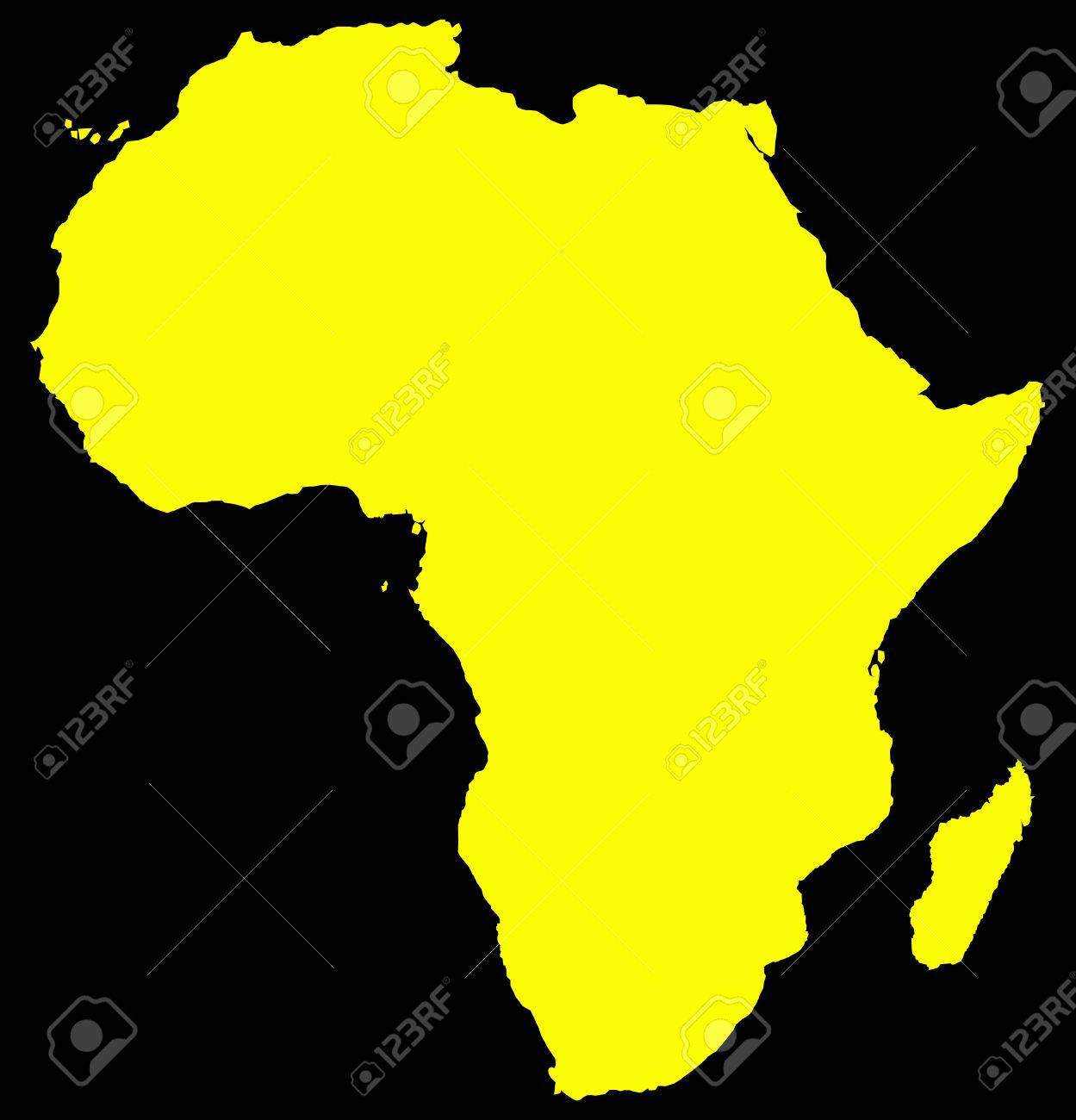 Africa Map Background.A Yellow Africa Map Isolated On A Black Background Royalty Free