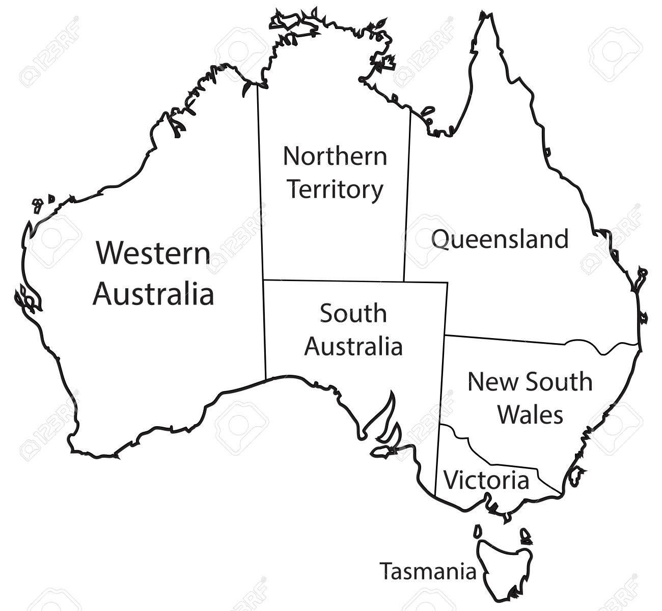 Australia Map Black And White.An Australian Map Outlining The Territories Isolated On A White