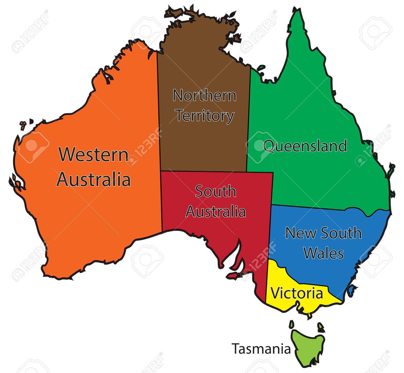 Australia Map Territories.An Australian Map Outlining The Territories In Colour Isolated