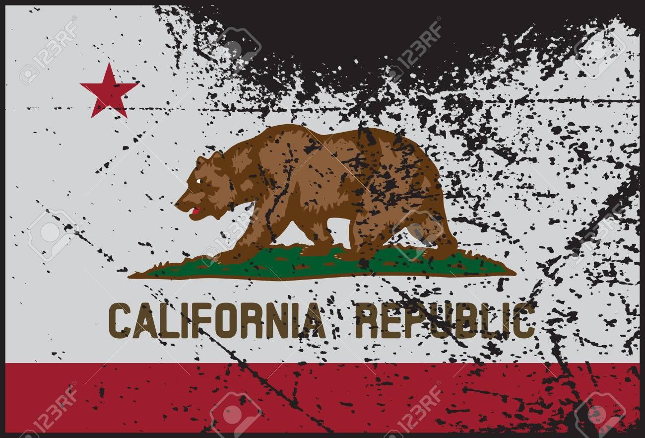 A California Flag With Grunge Design Stock Vector
