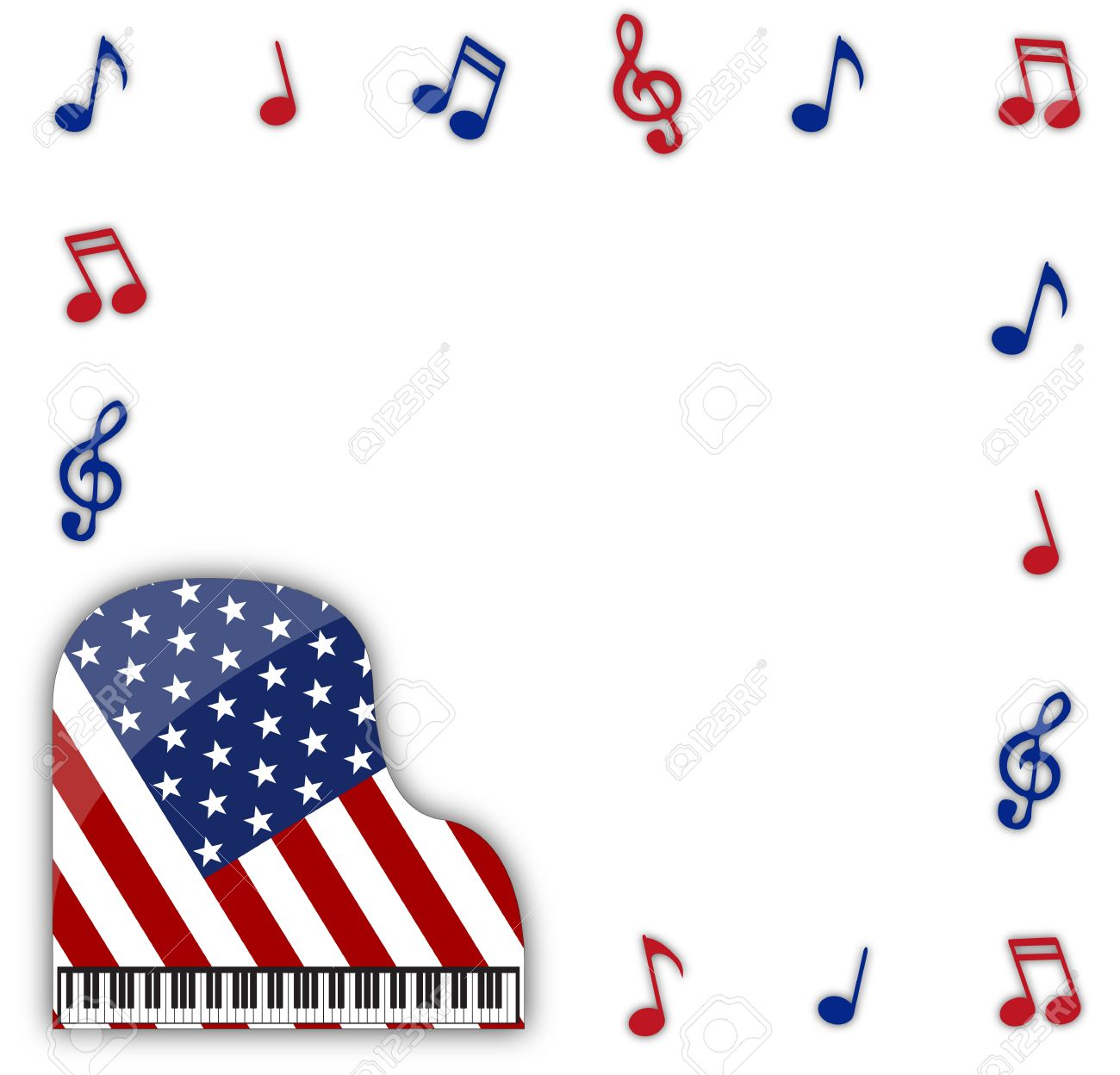 An American Flag Grand Piano Design With Musical Notes Isolated