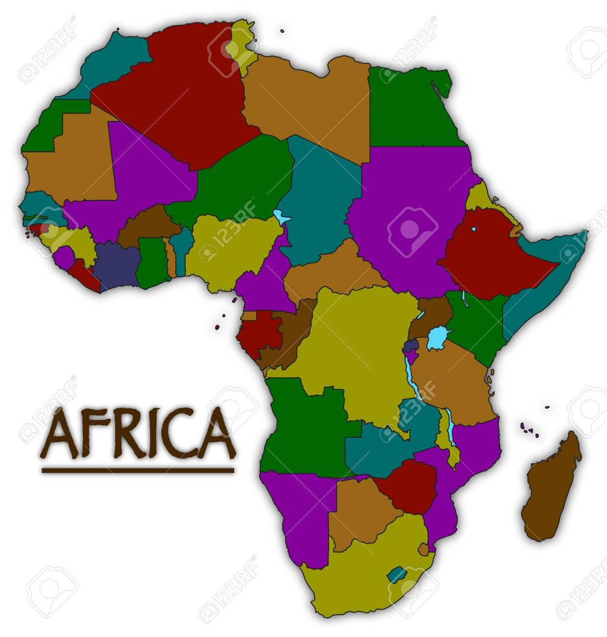 Couleur De L Afrique.Une Carte D Afrique Avec Tous Les Pays De Couleur Isole Sur Un Fond Blanc