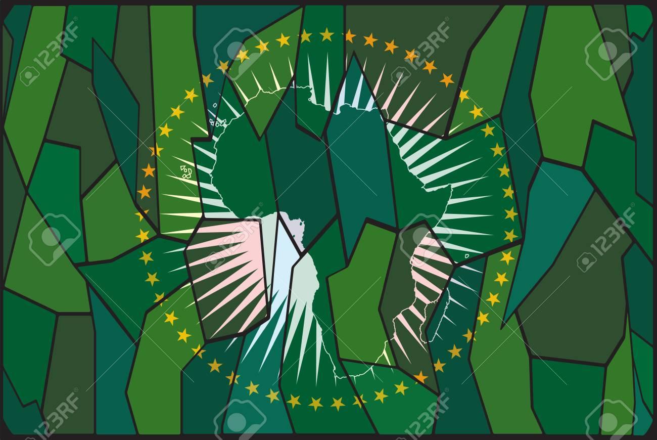 アフリカ連合のステンド グラス...
