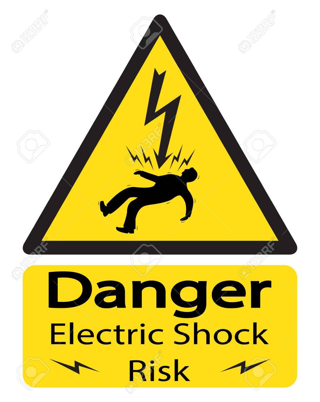 Ein Dreieckiges Gelbes Schock Warnzeichen Mit Einem Elektrocuted ...