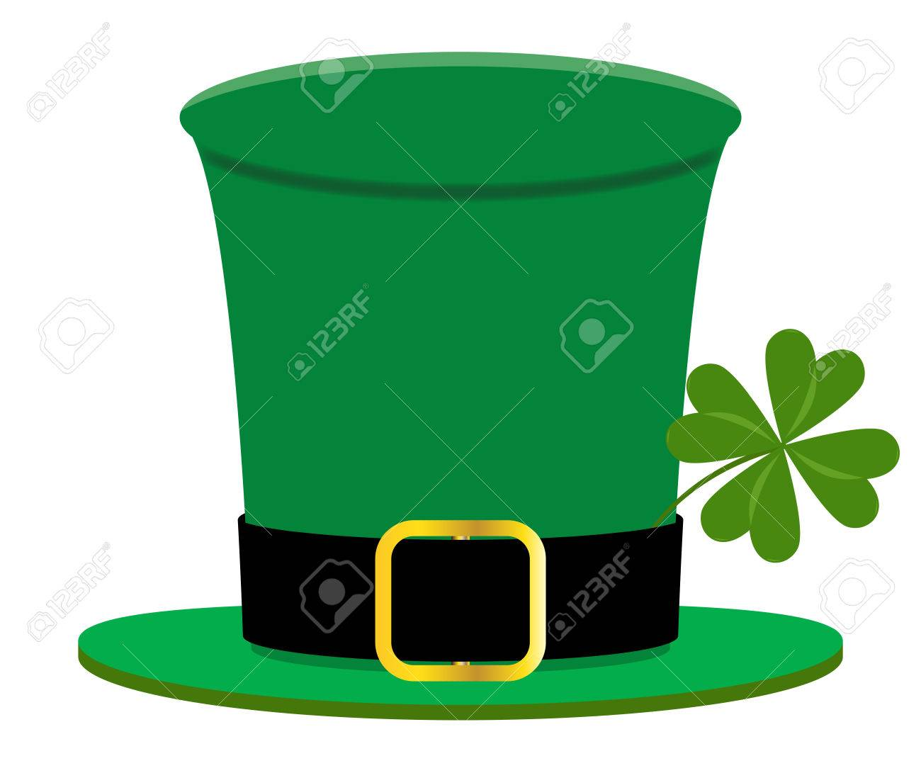 21822135964965 A Saint Patricks day hat design with 4 leaf clover isolated on a white  background Stock