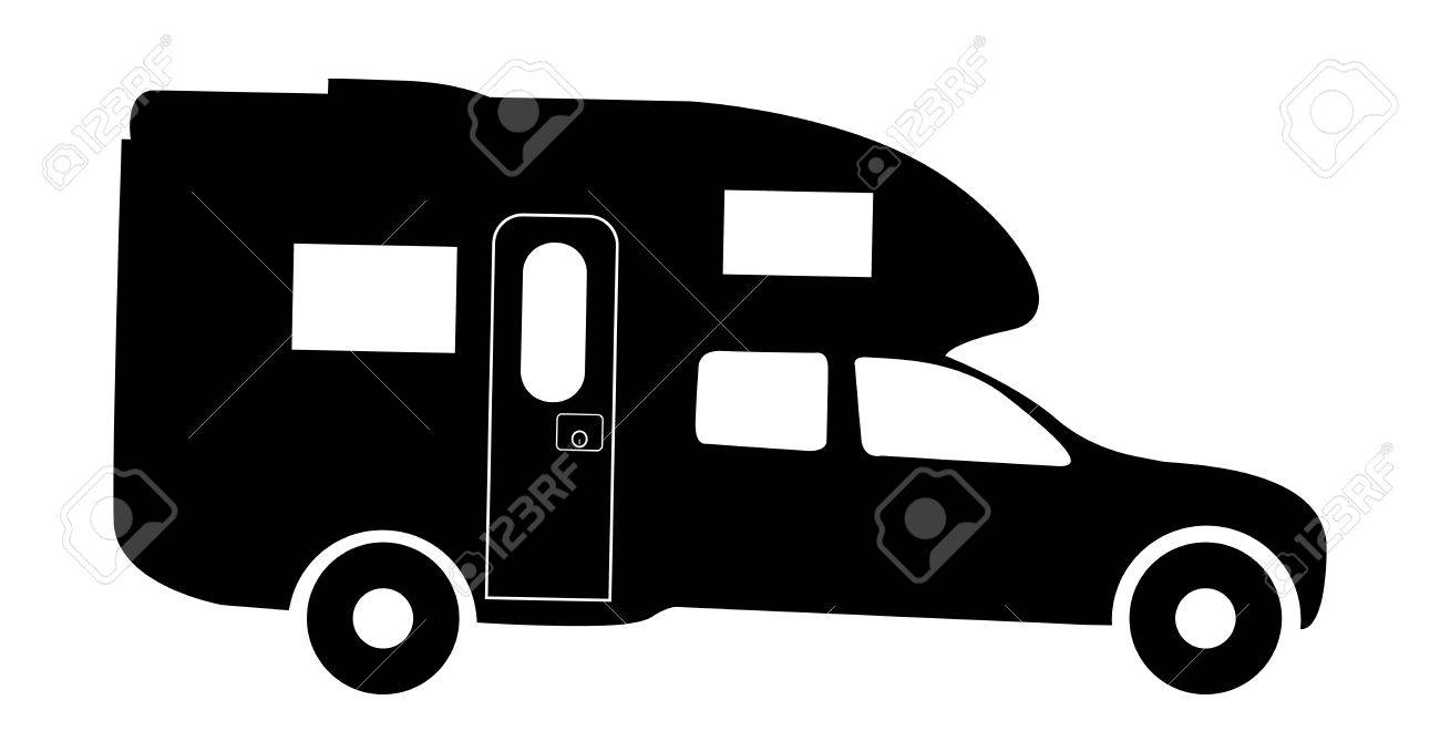 A Truck Rv Camper Van Silhouette Isolated On White Background Stock Vector