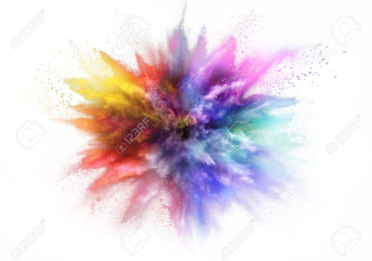 Freeze motion of colored dust explosion isolated on white background - 94112650