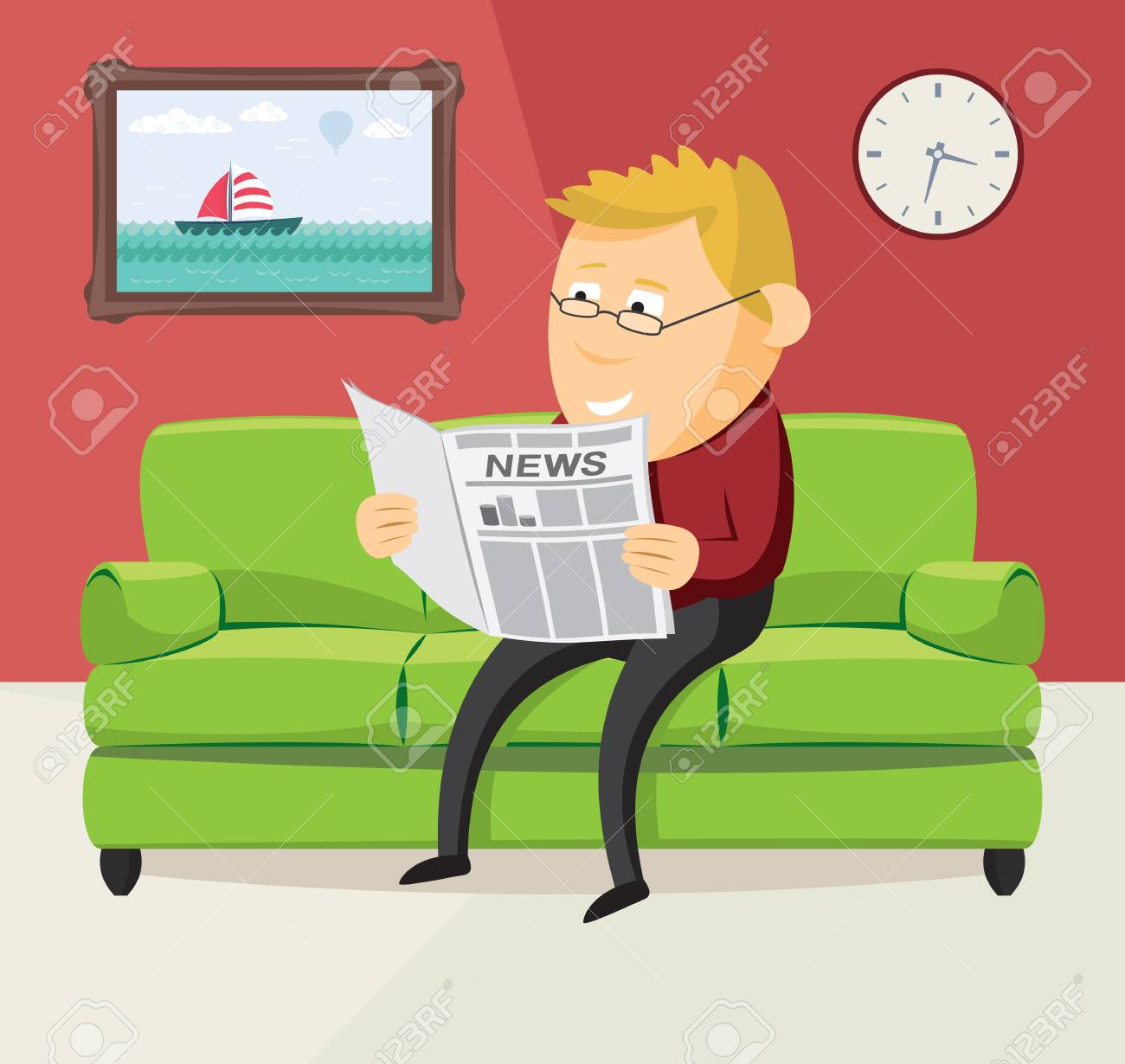 Happy Man Is Reading A Newspaper On The Sofa In Living Room Simple Flat
