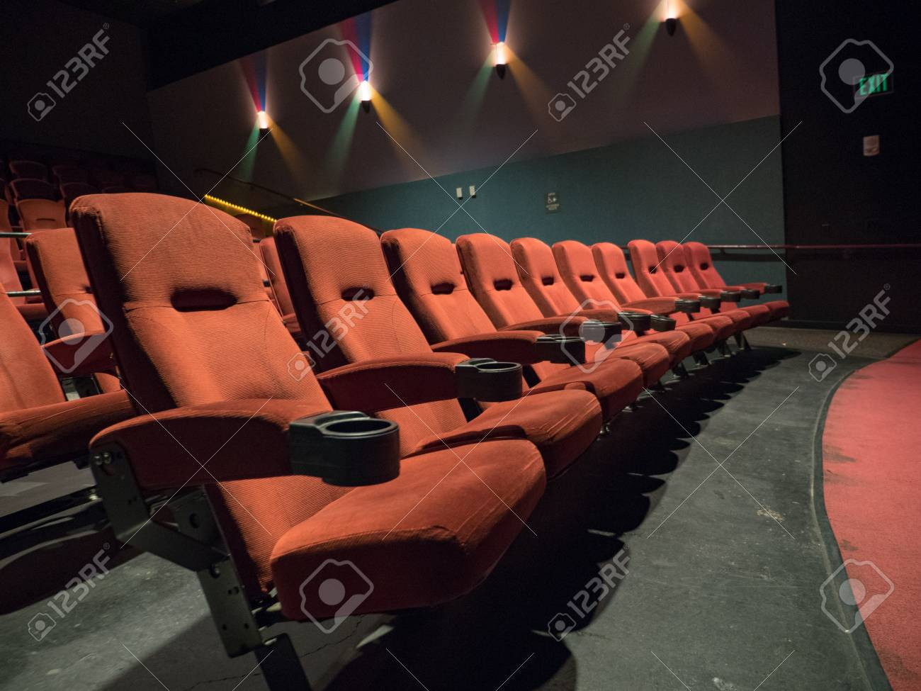 Old School Movie Theater Orange Seats Front Row Stock Photo Picture And Royalty Free Image Image 99608280