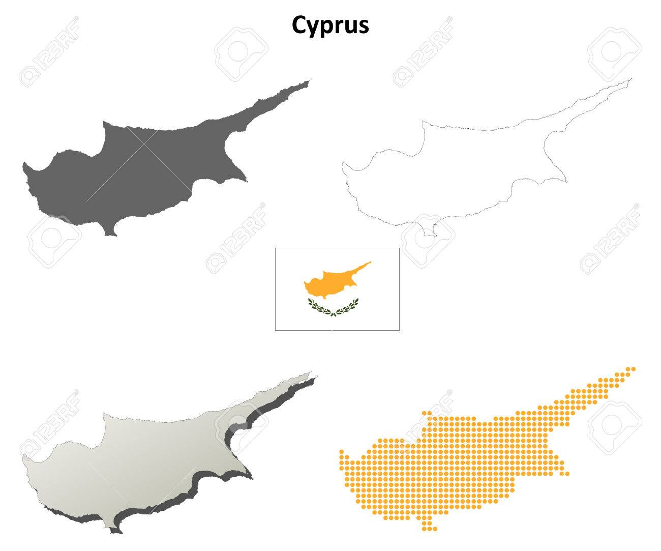 Cyprus Outline Map Set Royalty Free Cliparts Vectors And Stock - Cyprus blank map
