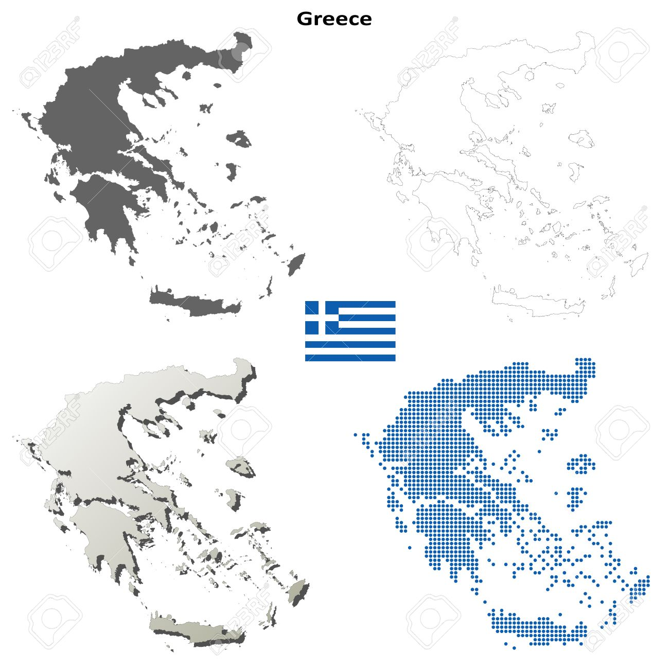 Greece Map Blank.Greece Blank Detailed Vector Outline Map Set Royalty Free Cliparts