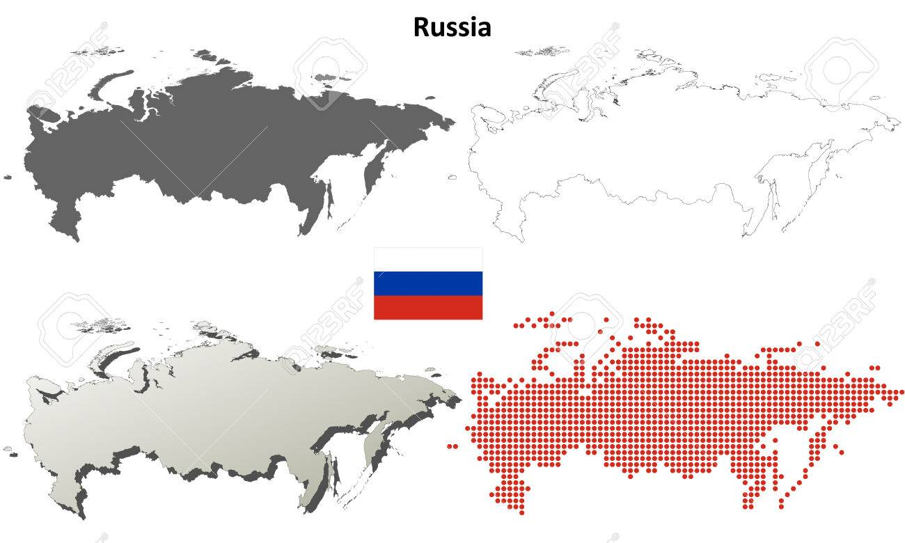 russia blank detailed outline map set royalty free cliparts
