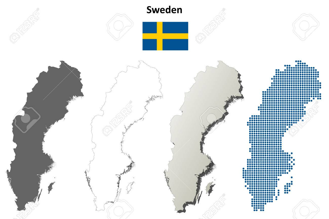 Sweden Outline Map Set Royalty Free Cliparts Vectors And Stock - Sweden map outline