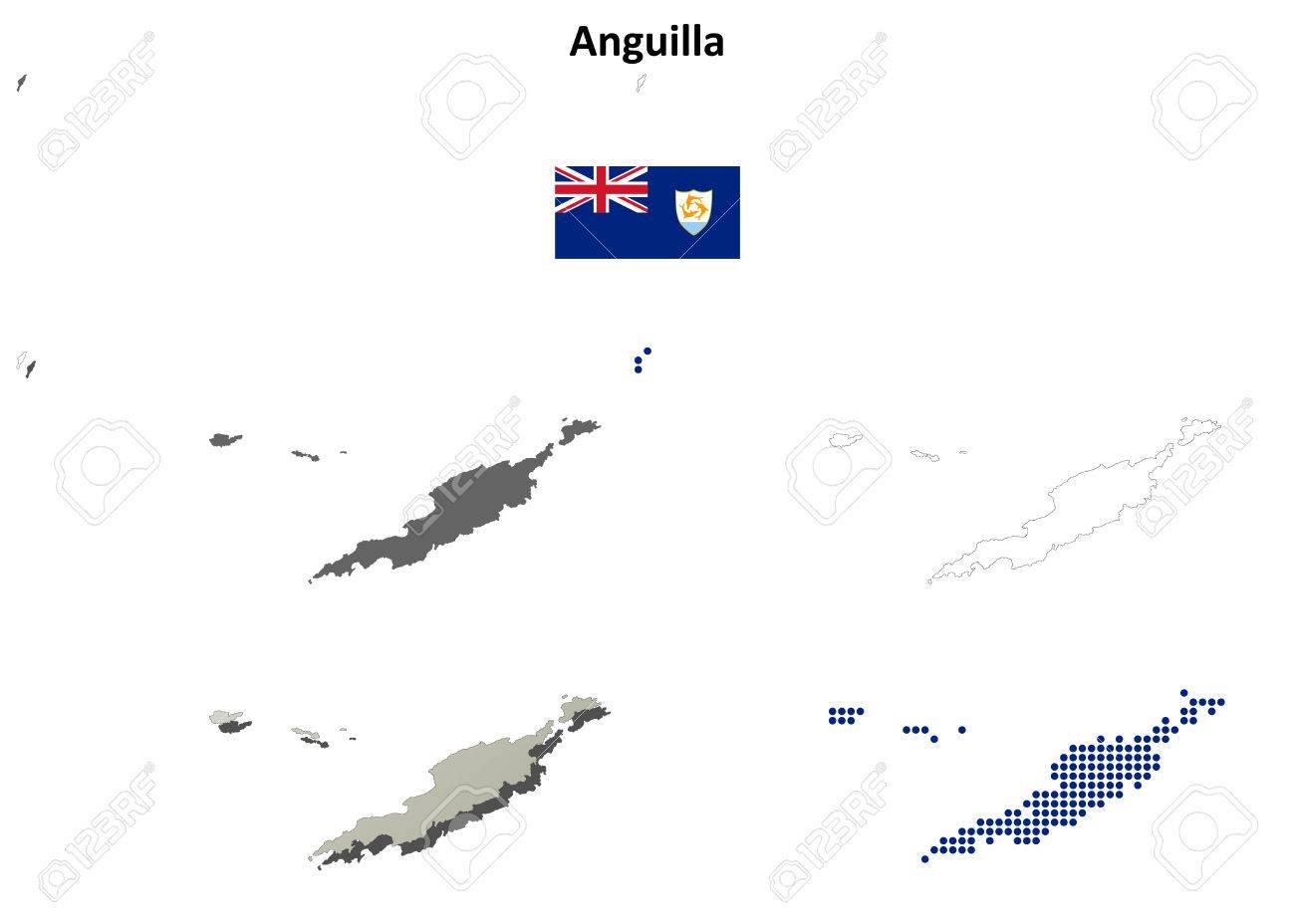 Anguilla blank detailed vector outline map set