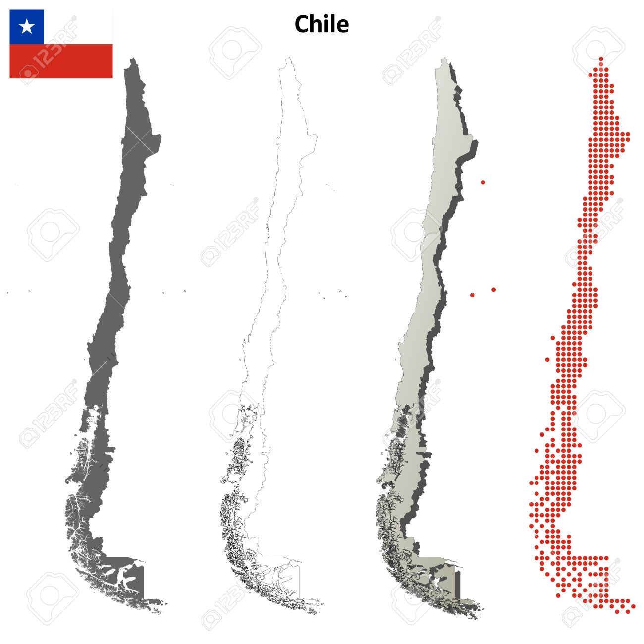 chile blank detailed vector outline map set royalty free cliparts