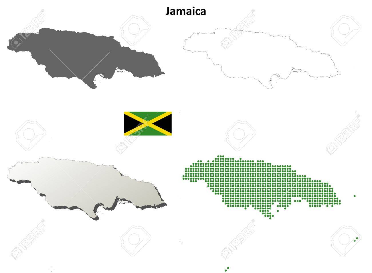 Jamaica blank detailed vector outline map set