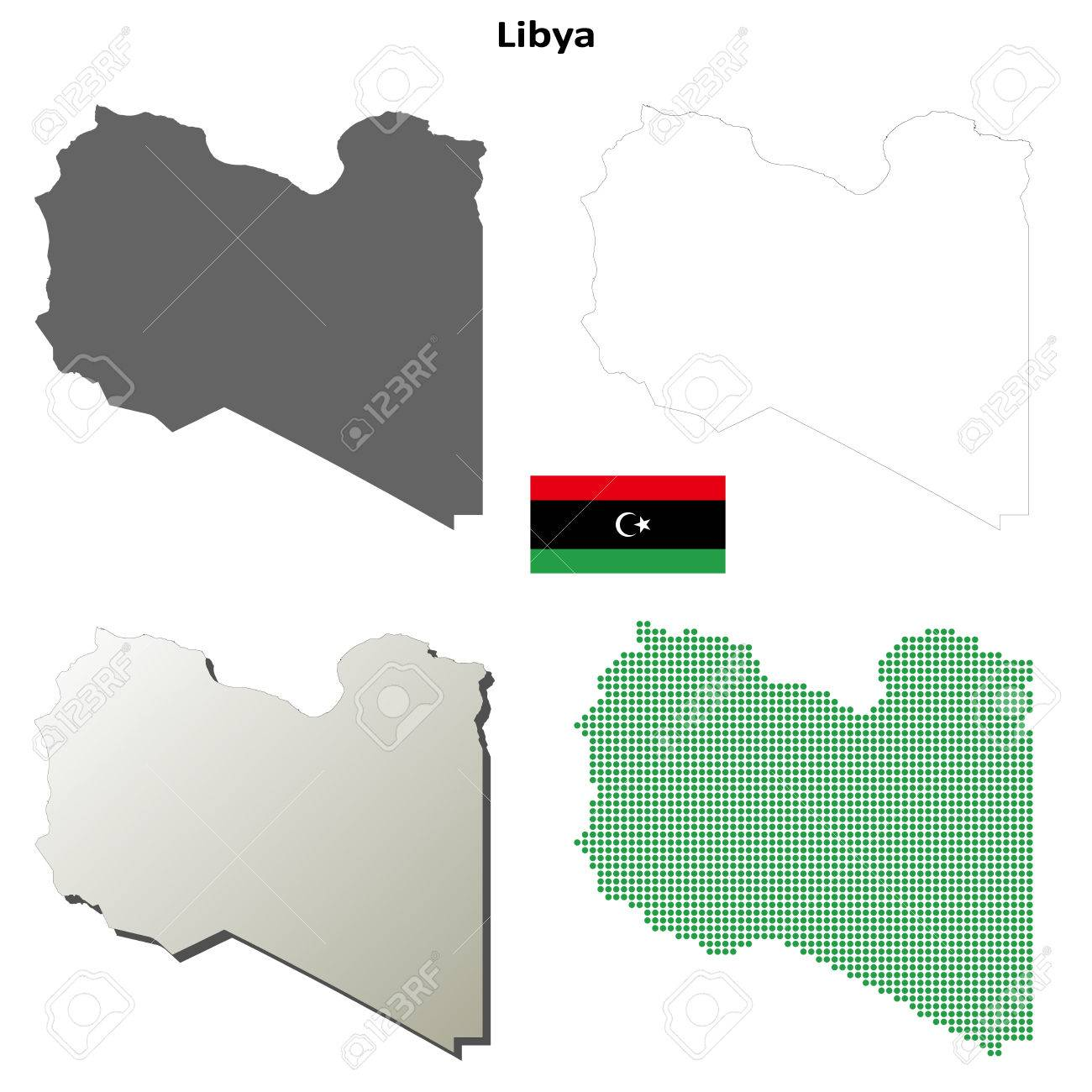 Libya Blank Detailed Vector Outline Map Set Royalty Free Cliparts - Libya blank map