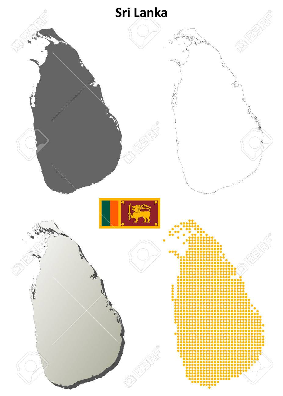 Sri Lanka blank detailed outline map set