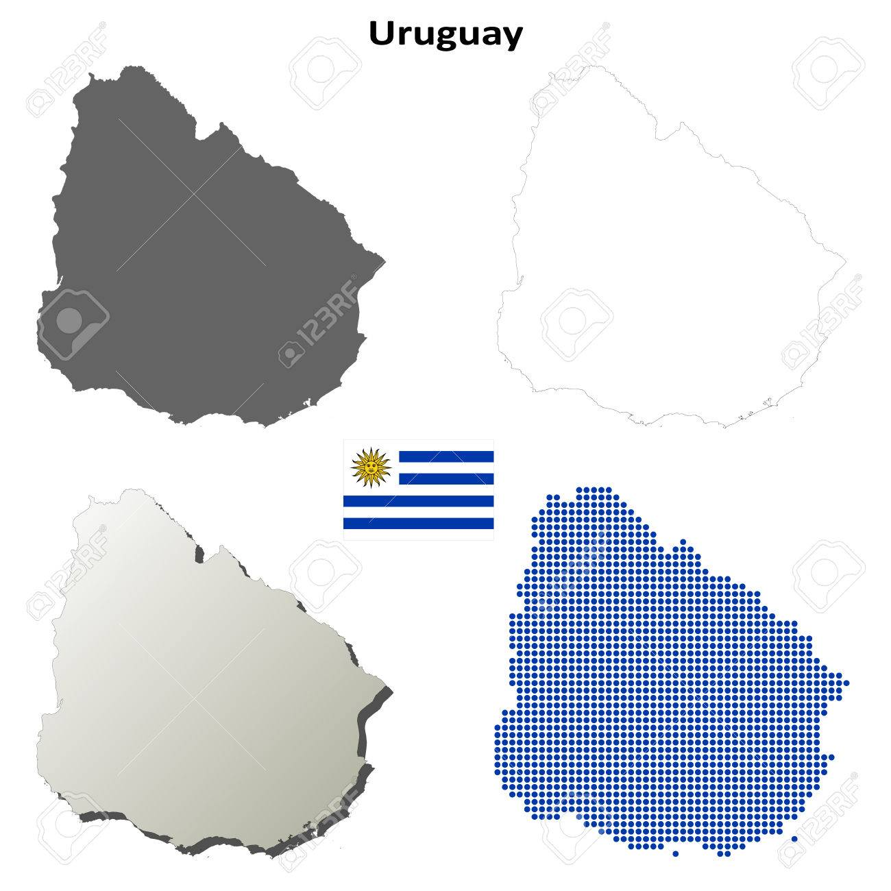 Uruguay Blank Detailed Vector Outline Map Set Royalty Free - Uruguay blank map