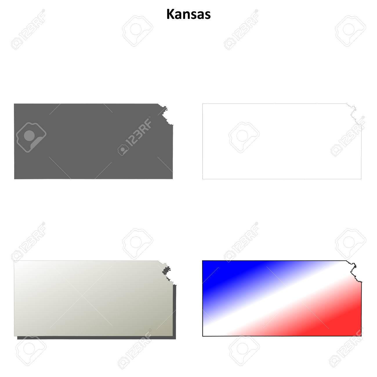 Kansas state blank vector outline map set on kansas major cities map blank, ny state map blank, florida state map blank, kansas weather map blank, hawaii state map blank, washington state map blank, alaska state map blank,