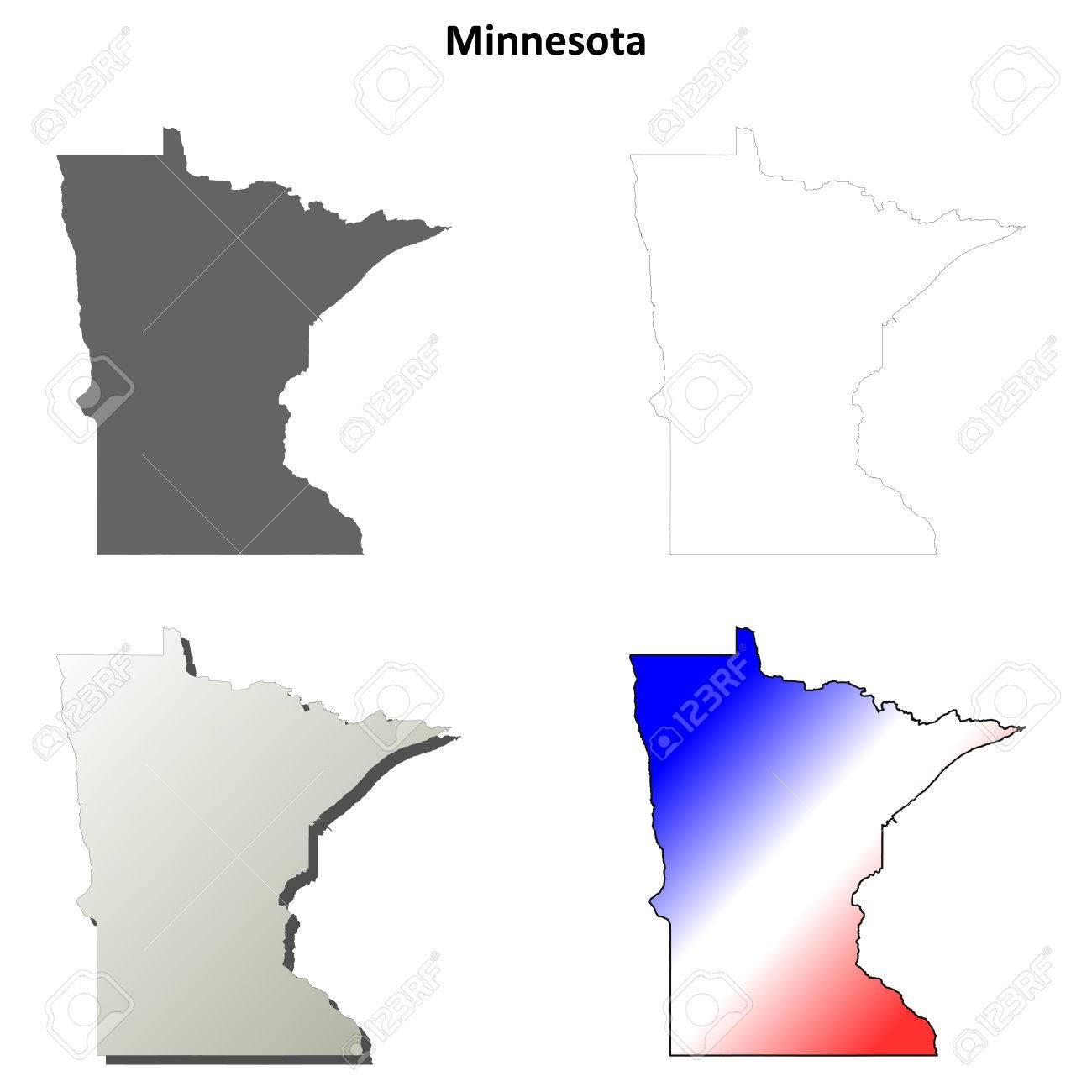 Minnesota State Blank Vector Outline Map Set Stock Vector   47709396