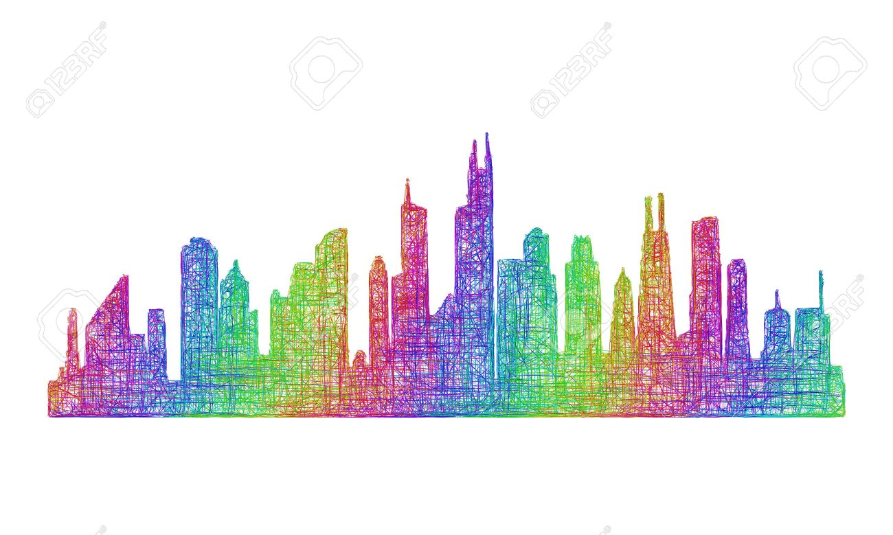Chicago City Skyline Silhouette - Multicolor Line Art Royalty Free ...