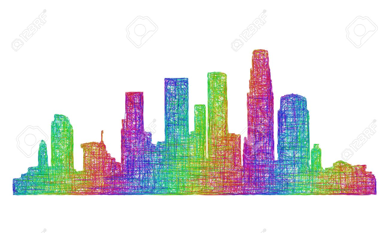 los angeles city skyline silhouette multicolor line art stock vector 47711245