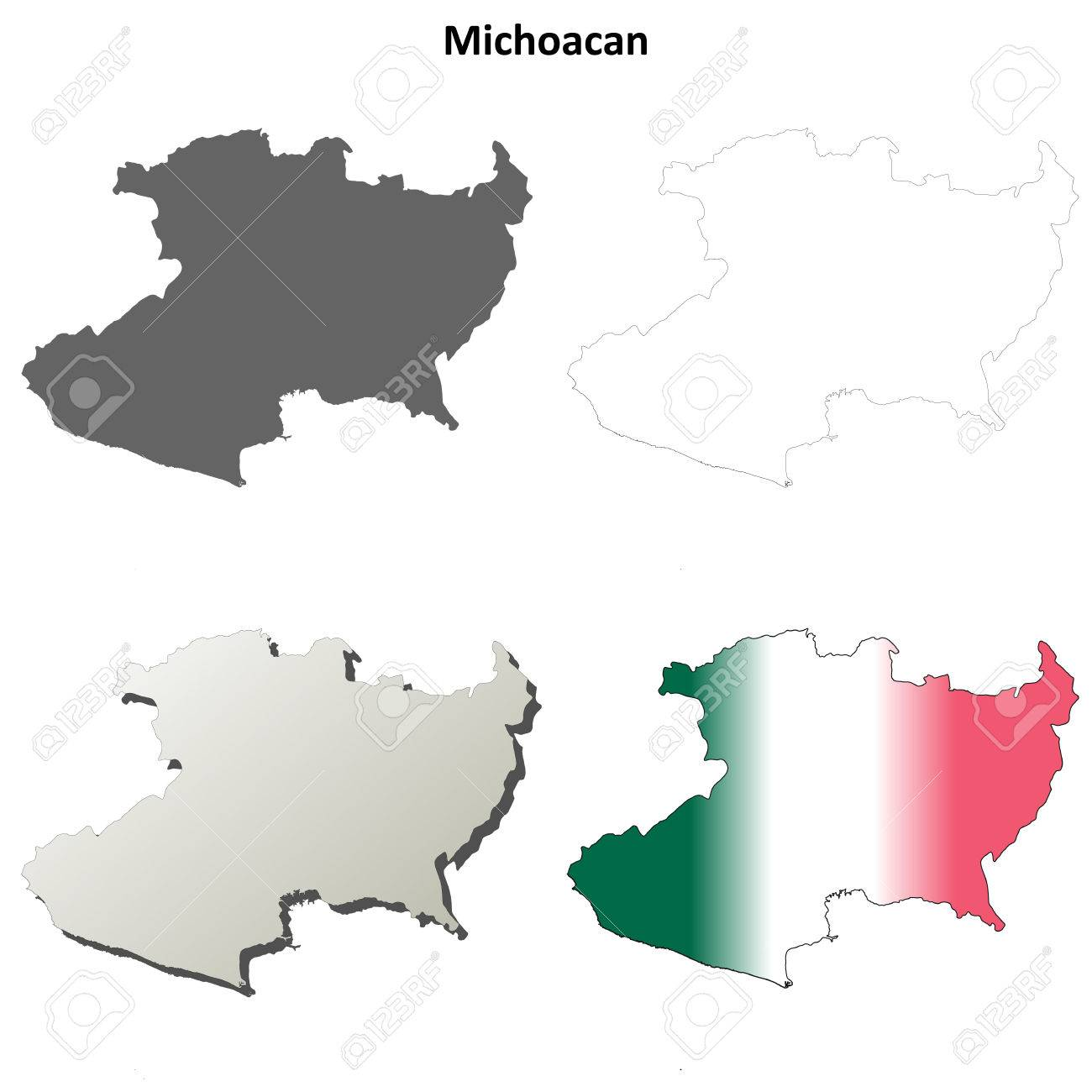 Michoacan State Map.Michoacan State Blank Vector Outline Map Set Royalty Free Cliparts