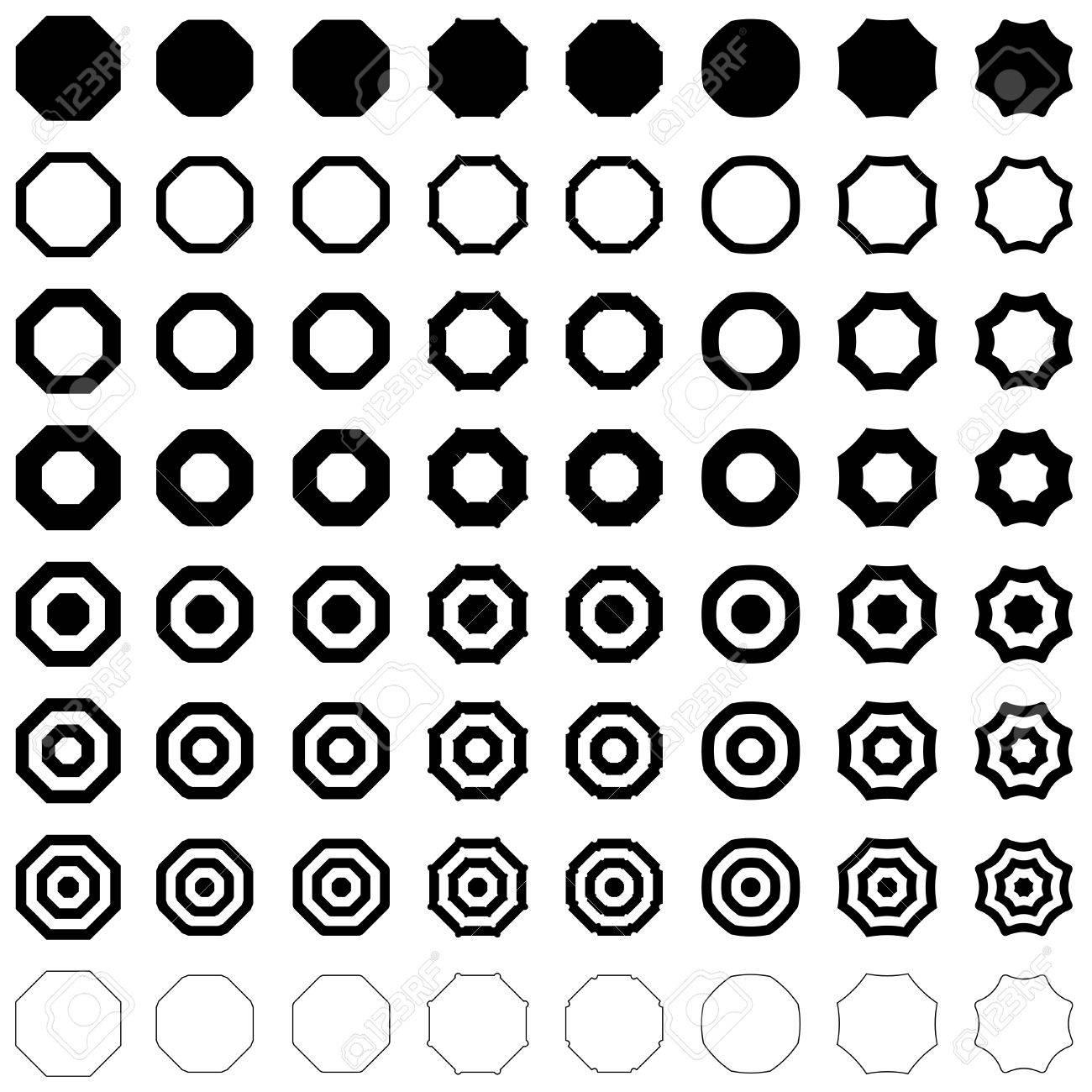 Octagon Forme Polygone Vecteur Icône Modèle Ensemble Clip Art Libres