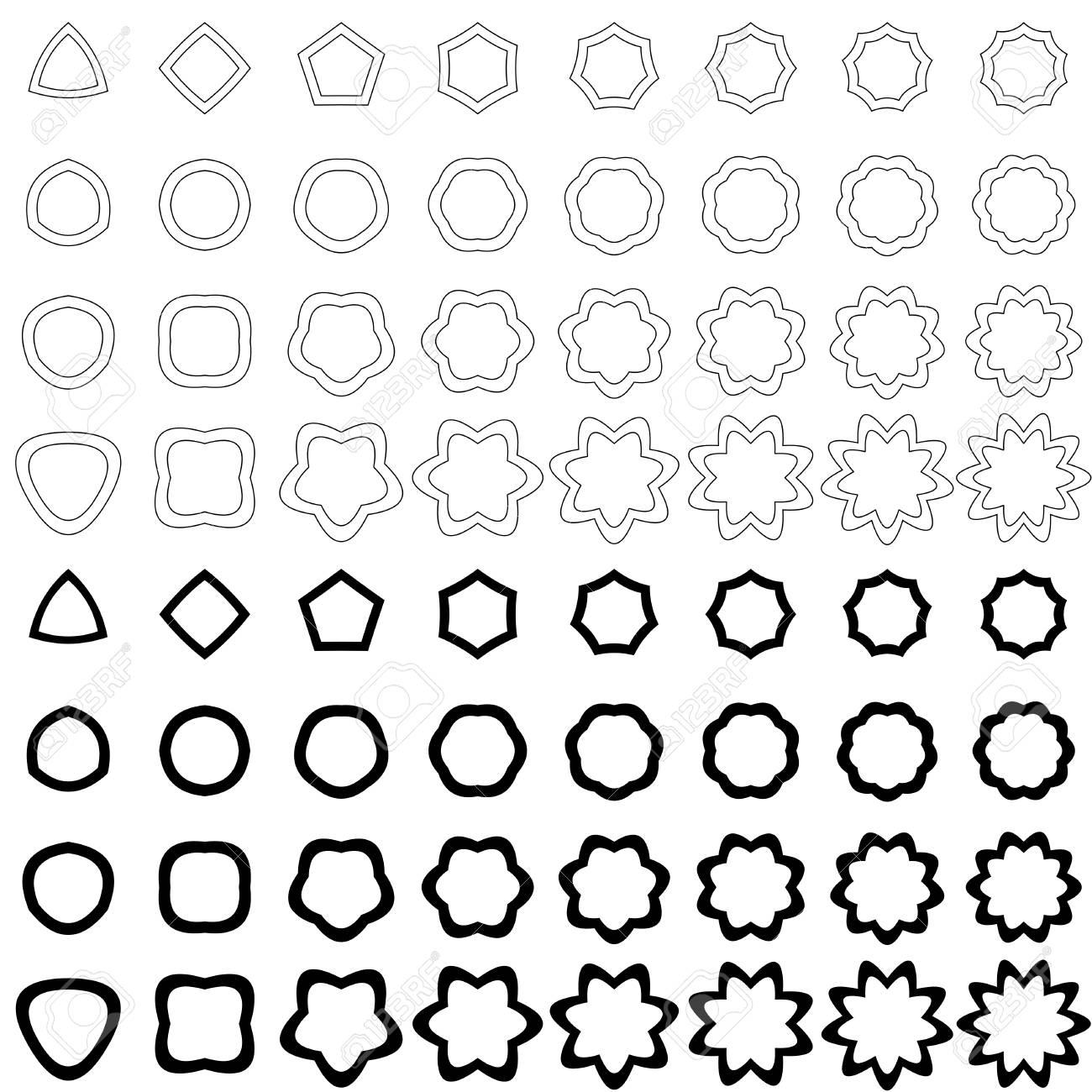 Noir Incurvée En Forme De Polygone Vecteur Icône Collection Clip Art