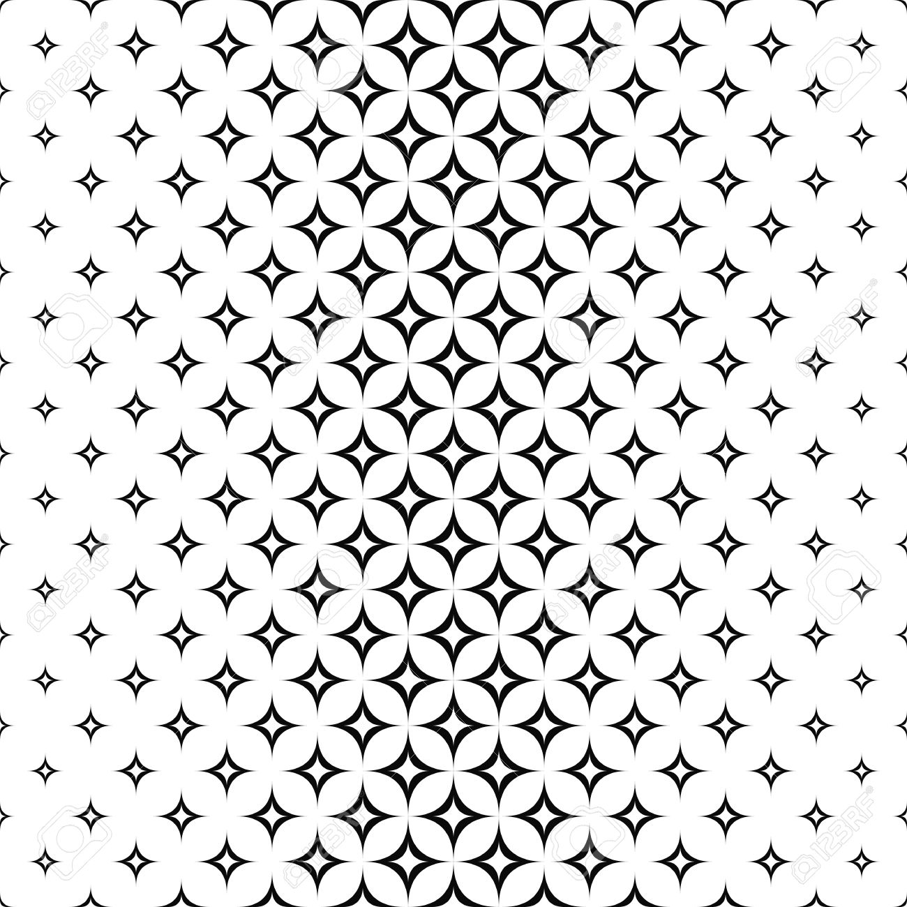 Monochrome Seamless Star Pattern Design Vector Background Stock Vector    48576811