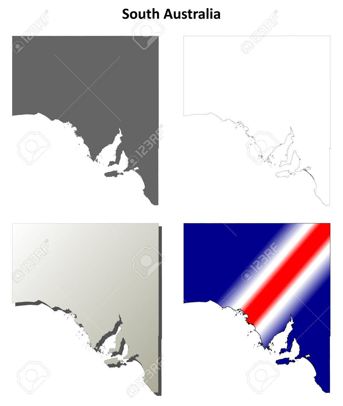 South Australia Blank Detailed Outline Map Set Royalty Free Cliparts ...