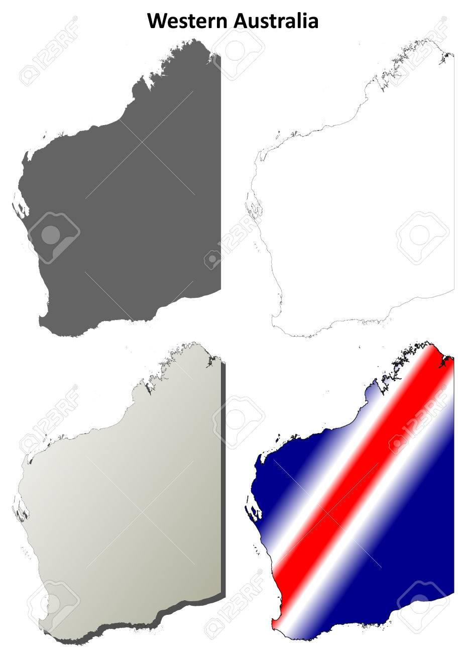 vector western australia blank detailed outline map set
