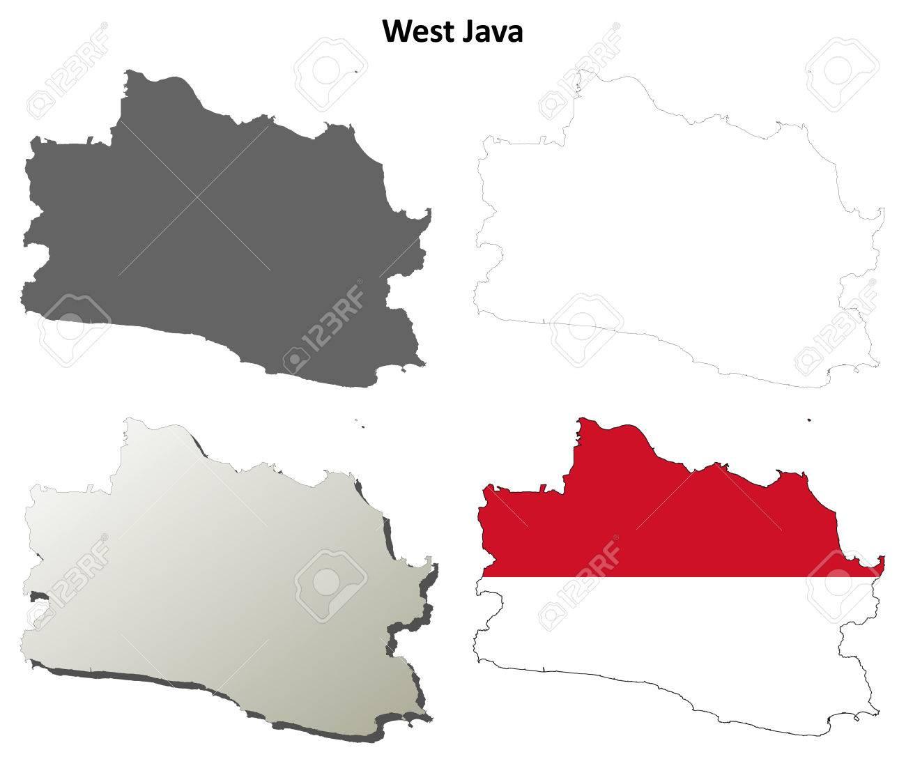 West Java blank detailed vector outline map set