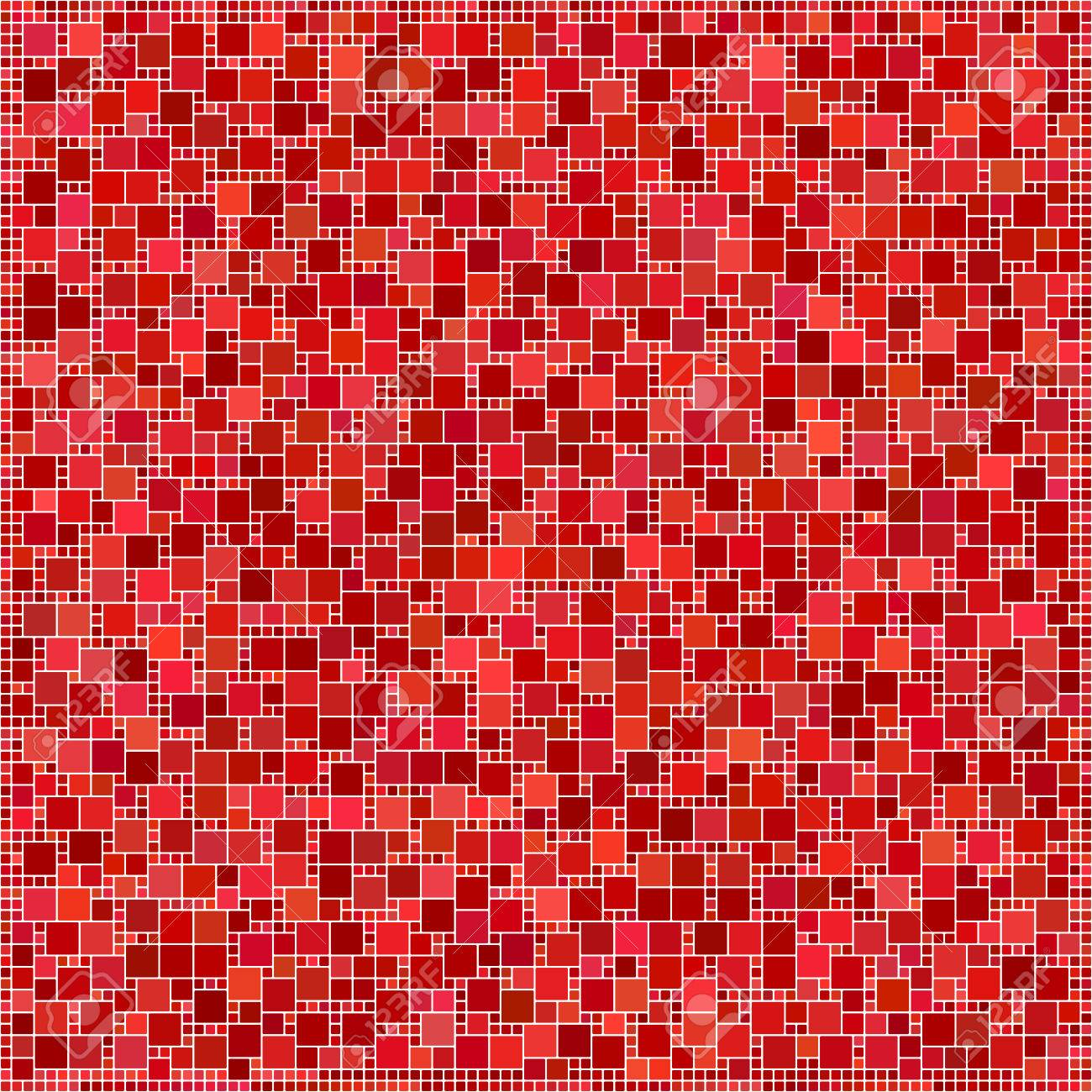 Red Color Abstract Square Mosaic Pattern Background