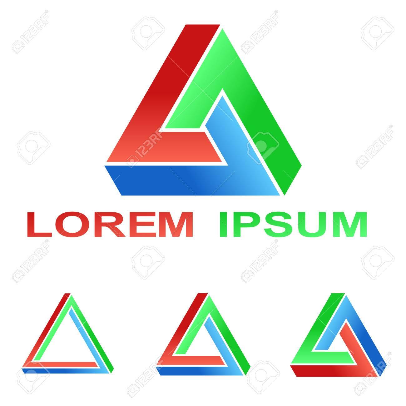 Penrose Triangle Technology Company Symbol Set Royalty Free Cliparts