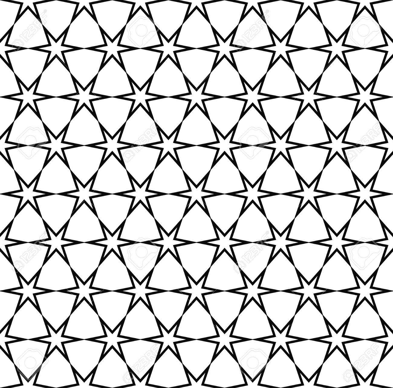 Seamless Black White Hexagonal Vector Star Pattern Design Background Stock  Vector   48123782