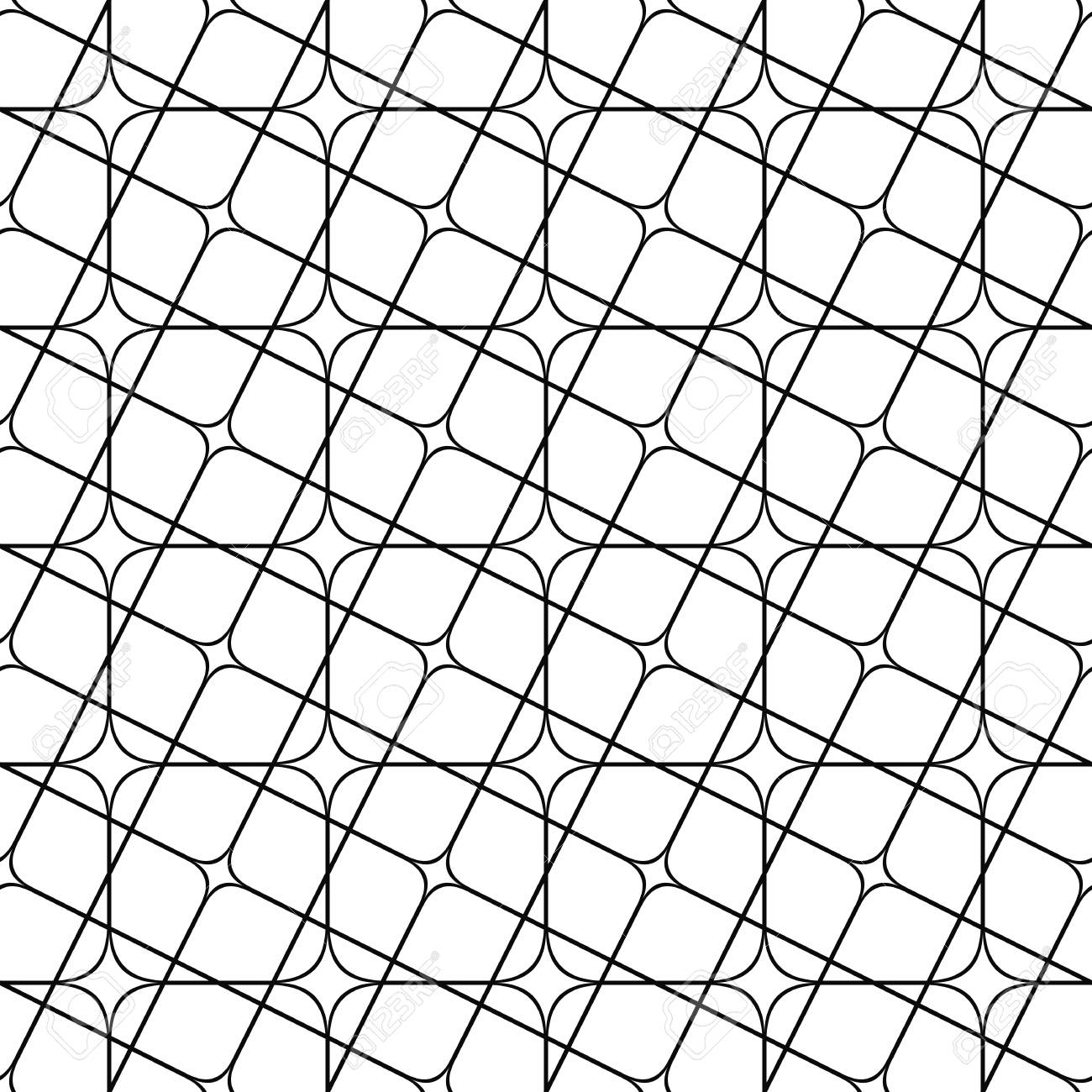 Seamless abstract monochrome angular curved grid pattern