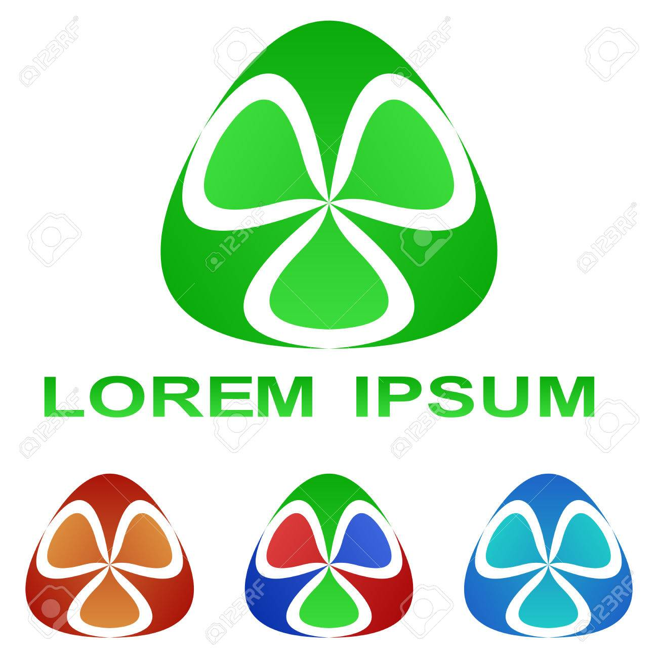Green Bio Technology Company Symbol Design Set Royalty Free Cliparts