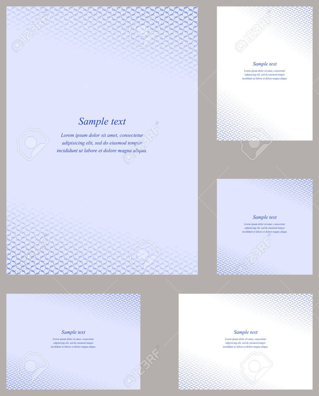Blue Page Corner Design Cover Template Set Royalty Free Cliparts