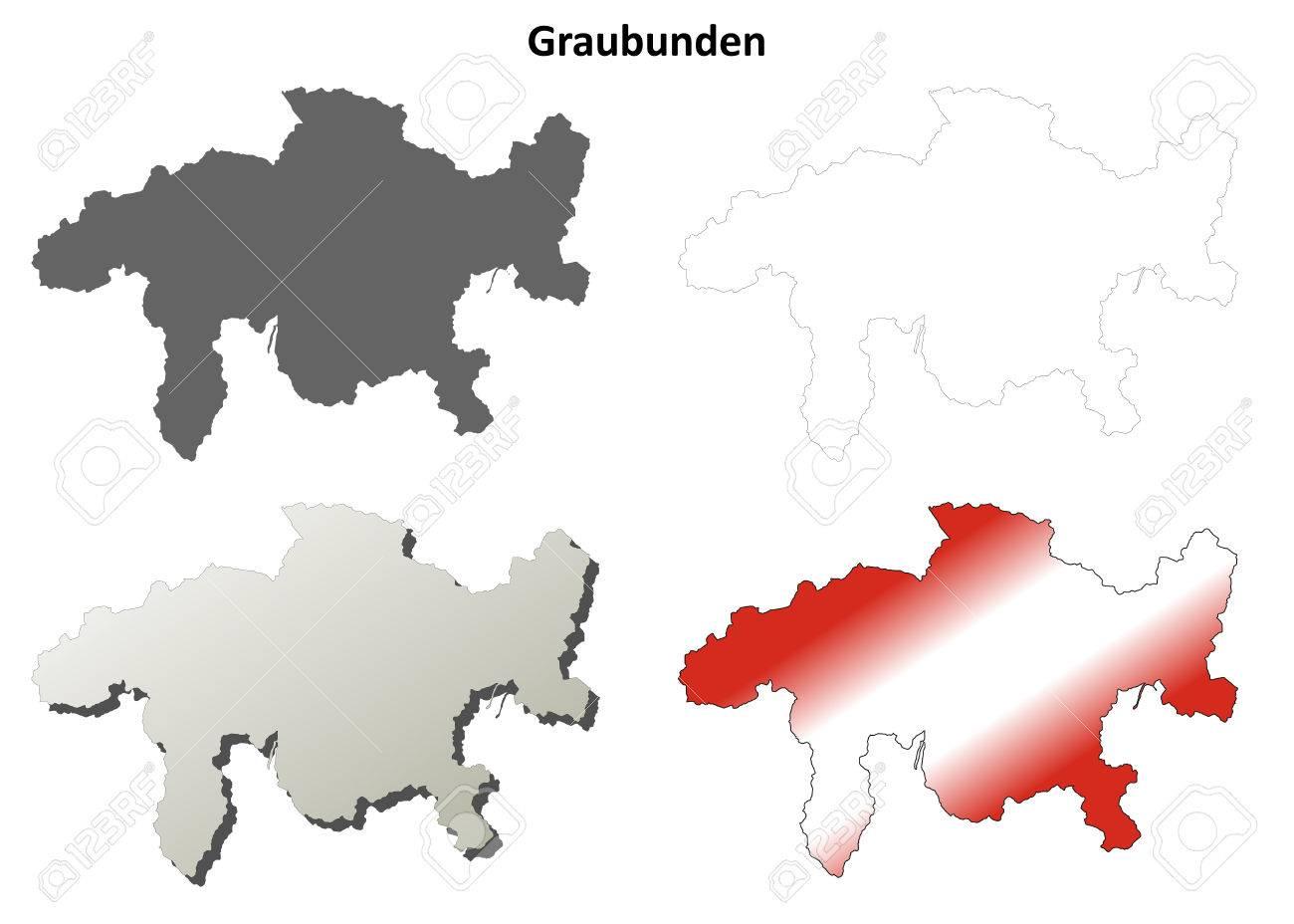 Kanton Graubunden Leer Detaillierte Ubersicht Karte Set Lizenzfrei