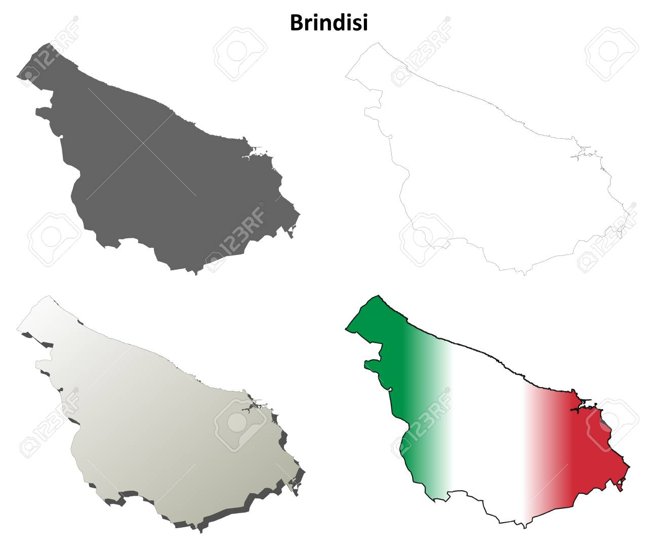 Brindisi Province Blank Detailed Outline Map Set Royalty Free