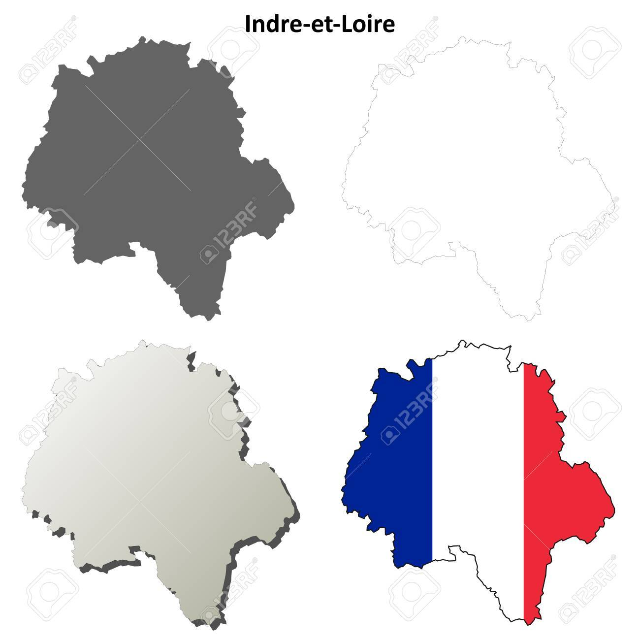 Indre-et-Loire, Centre Blank Detailed Outline Map Set Royalty Free on