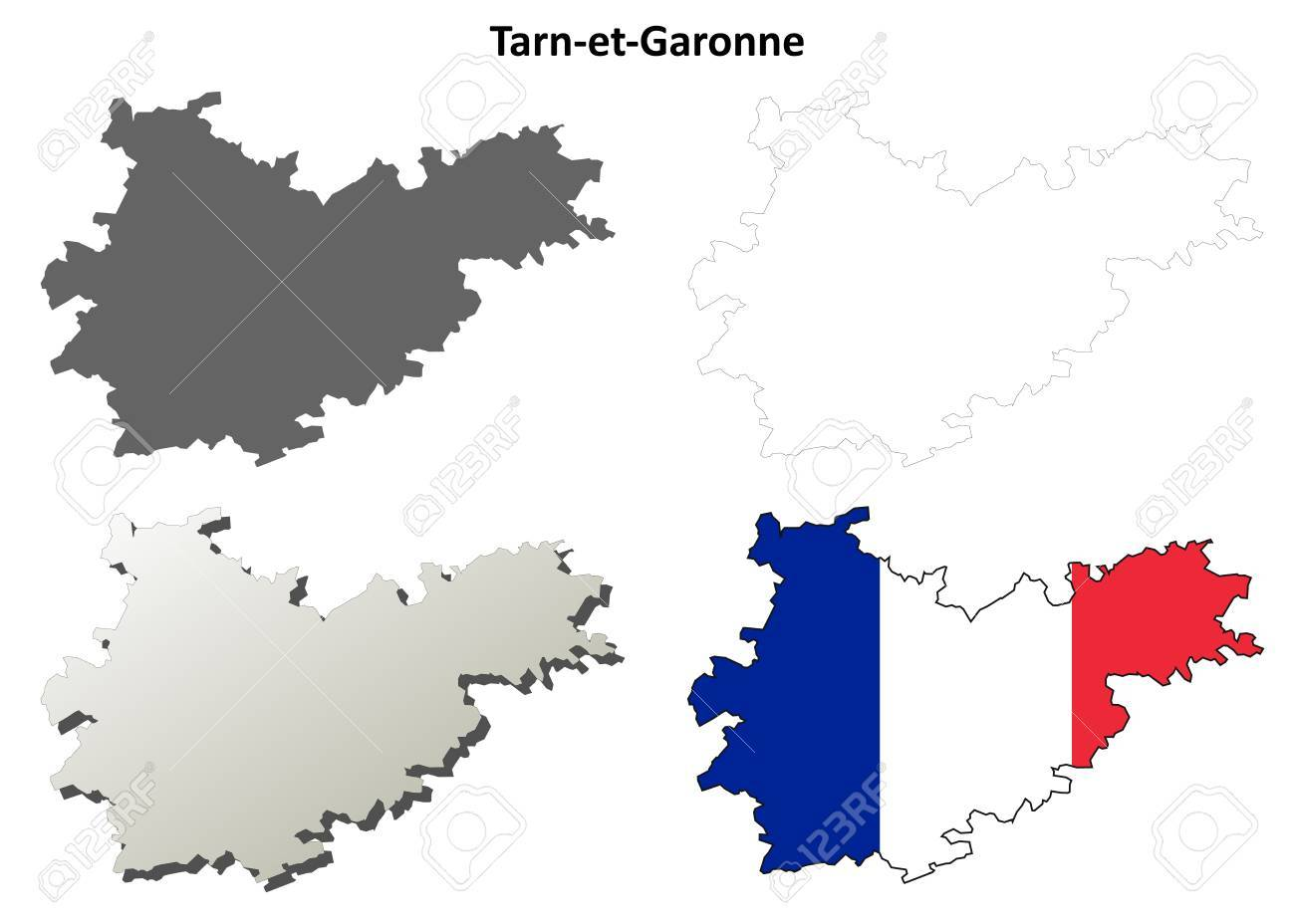 Tarn-et-Garonne, Midi-Pyrenees Blank Detailed Outline Map Set ... on