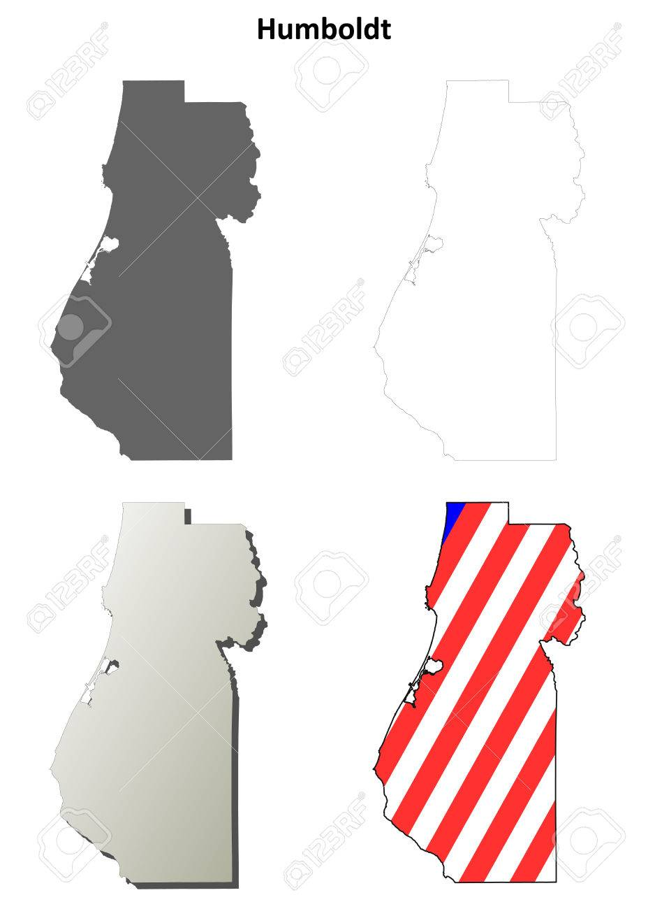 Humboldt County California Blank Outline Map Set Royalty Free