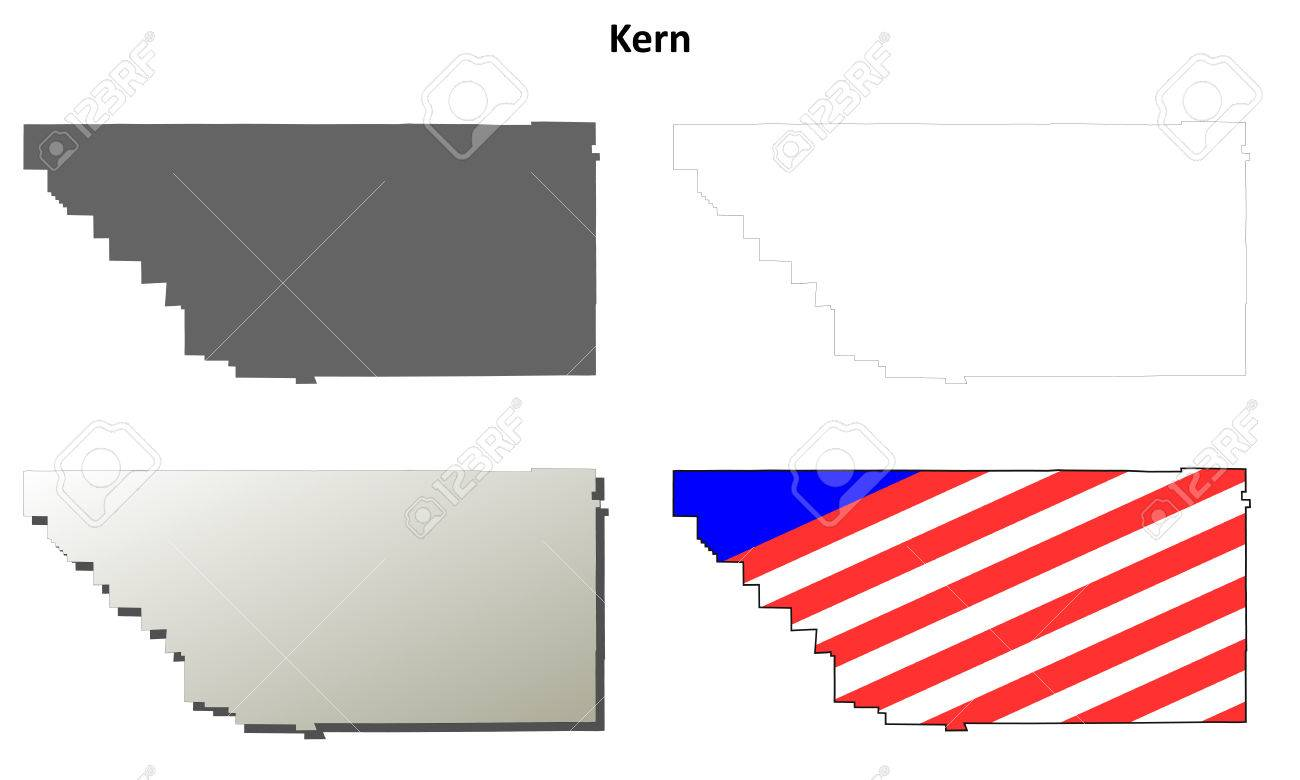 Kern County California Blank Outline Map Set Stock Vector