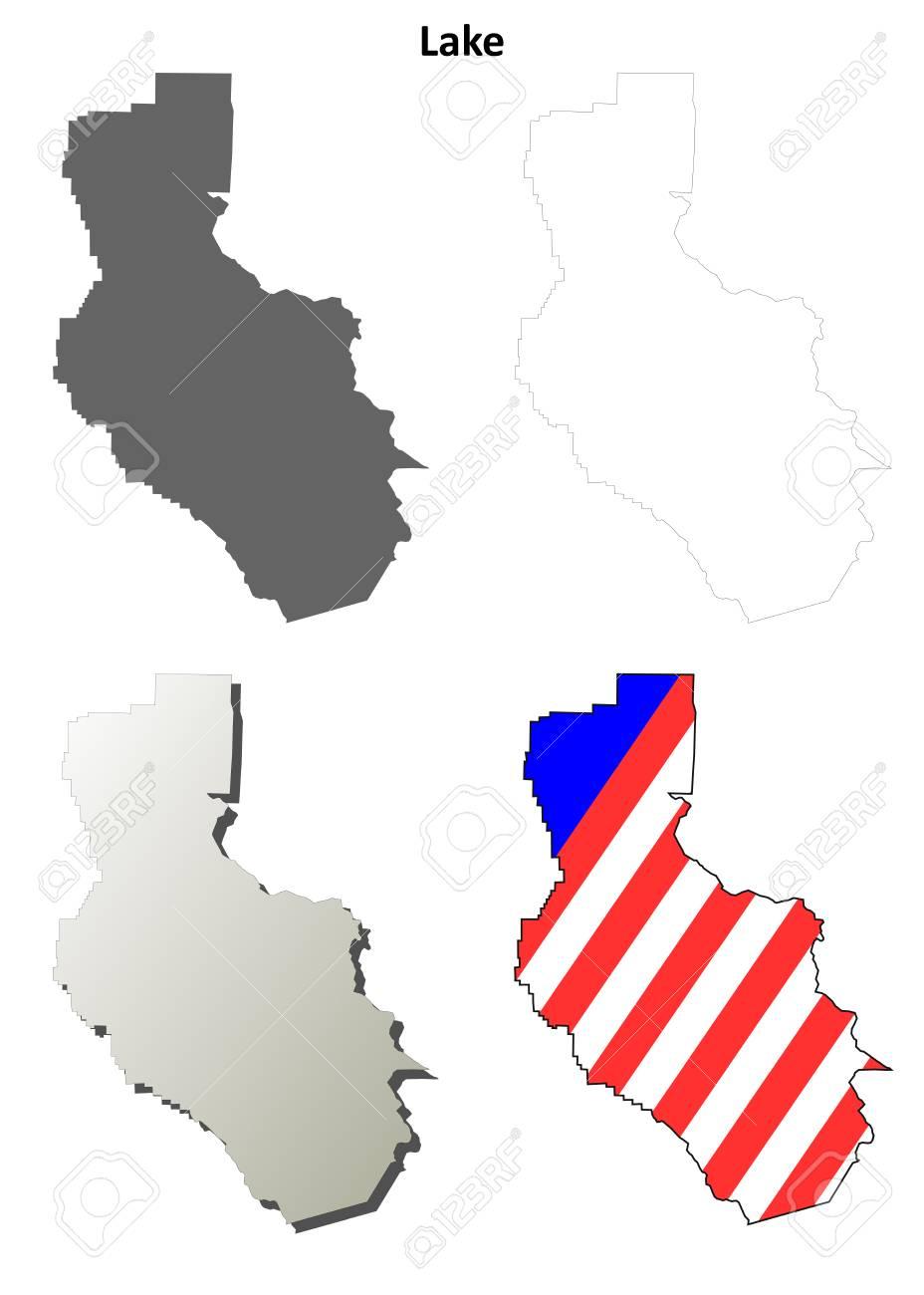 Lake County California Blank Outline Map Set Stock Vector