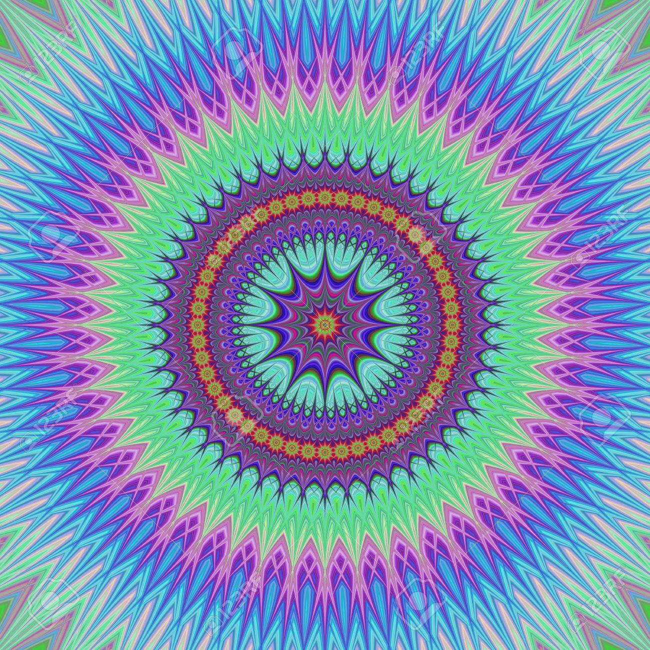 Style Oriental Design Mandala Floral Dans Des Couleurs Froides ...