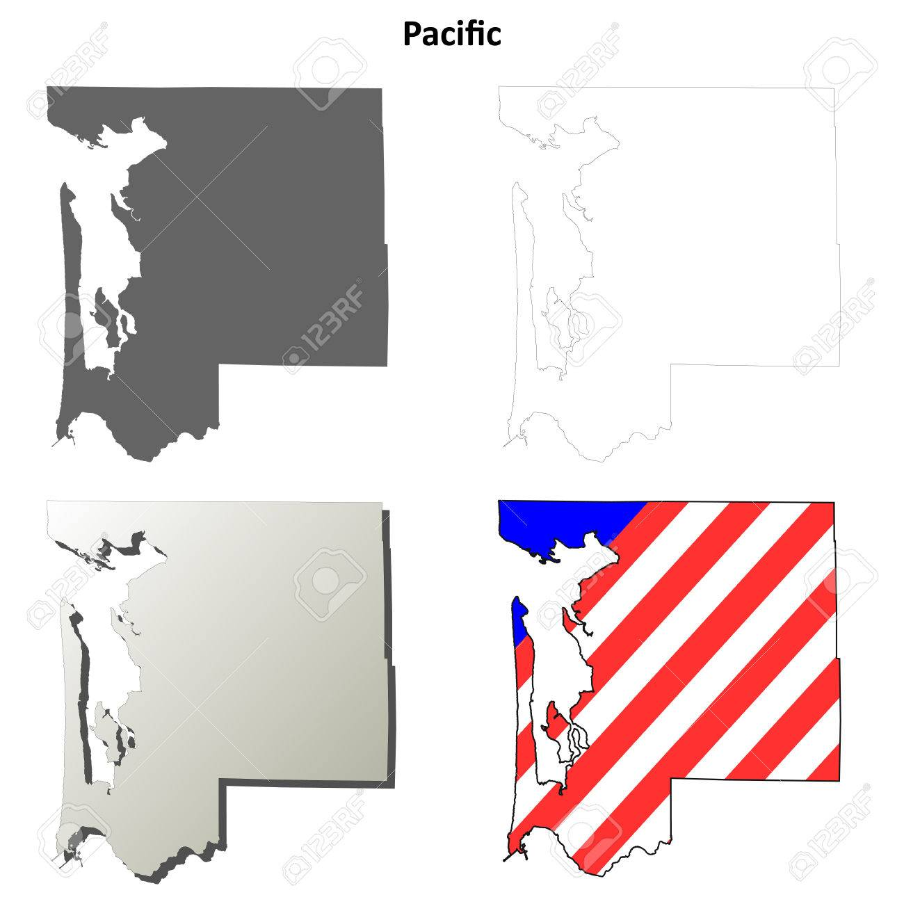 Pacific County, Washington Blank Outline Map Set Royalty Free ...